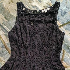 Sleeveless Black Lace Flared Short Dress US 6